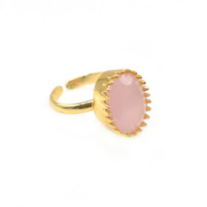 Faceted Pink Rose Quartz Gemstone Gold Plated Fashion Jewelry Gift Ring Q370