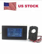 Digital BlueLCD Voltmeter AmmeterAC 220V 100APower EnergyComboMeterCTCoil