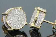 10K YELLOW GOLD .60 CARAT MENS WOMENS 10 mm 100% GENUINE DIAMONDS EARRING STUDS