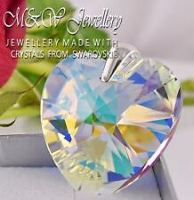 925 Sterling Silver Large Pendant HEART Crystal AB 40mm Crystals From Swarovski®
