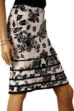 Karen Millen Silk Stencil Skirt, Black & White Floral Print  UK 8 (SA108)  KM8
