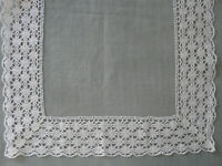 French Antique Edgings Table Runner Tablecloth Bobbin Lace Linen Puy en Velay