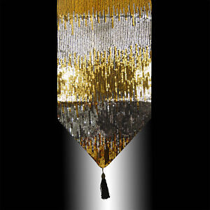 LUXURY SHINY GOLD SILVER SEQUINS DECORATIVE WEDDING TASSELS TABLE RUNNER CLOTH