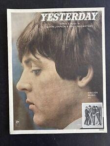 1965 BEATLES YESTERDAY Sheet Music by Lennon & McCartney Maclen Music  #04448