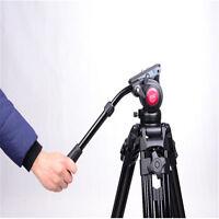 Professional Heavy Duty DV Video Camera Tripod Fluid Pan Head Kit w/ Handle Case