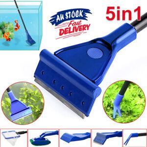 5in1 Tool Water Scraper Fork Rake Cleaner Aquarium Long Fish Tank Net Sponge