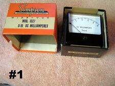 Panel Instrument Meters  NOS   NIB  Amperes  Volts DC  AC  Simpson  Vintage