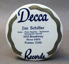 1920's DECCA RECORDS Schiffer FRESNO California celluloid record cleaner brush *
