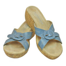 A GIANNETTI Made in Italy Wedgewood Blue Leather Platform Sandals • 7.5 M
