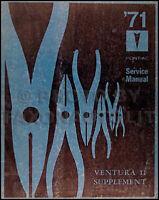 1971 Pontiac Ventura II Repair Shop Manual Supp 71