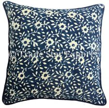Indian Block Print Canvas Cover 16x16 Handmade Indigo Square Throw Pillow Case