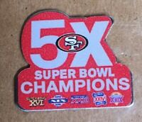 SAN FRANCISCO 49ers SUPERBOWL 5X CHAMPIONS PIN CHAMPS NFL SUPER BOWL 54 MONTANA