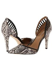 Calvin Klein Gilia Multi Snake Nappa 9 Black White Pumps Pointed toe D'Orsay New