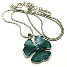 Signed Pilgrim Danish Design Enamel Clover Flower Swarovski Pendant Necklace