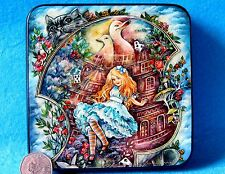 Russian LACQUER Box Alice in Wonderland Down the Rabbit-Hole Cheshire Cat signed