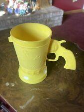 Vintage Cowboy Mug w/Pistol Yellow Plastic E-Z Por Corp. Western Gun Handle Cup