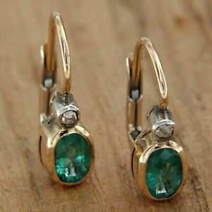14 kt ct k Yellow GOLD EMERALD and DIAMOND Dangle EARRINGS Antique Style Womens