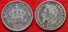 MONETA COIN MONNAIE FRANCIA EMPIRE FRANÇAIS 20 CENTIMES 1866 (BB) ARGENTO SILVER