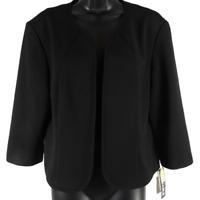 NWT Maya Brooke Black Thin Open Front Jacket Women's Size 14