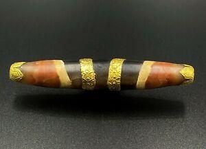 Himalayan Tibetan Nepalese Bhutan Antiquities Chung Stripe Old Dzi Bead in Gold