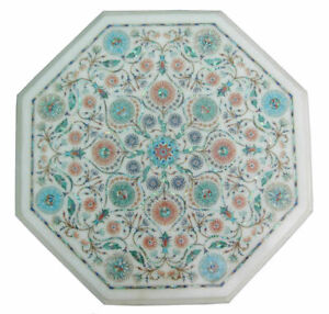 "18"" Marble Dining Table Top Inlay Rare Semi Antique Center Coffee Table AR0931"