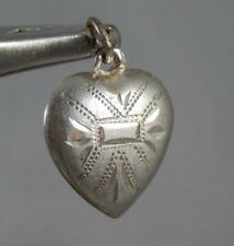 Heart Charm / Pendant J0263 Vintage Estate Sterling Silver Chased Puffy