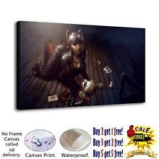 "12""x22""Catwoman and Harley Quinn HD Canvas prints Painting Home decor Wall art"