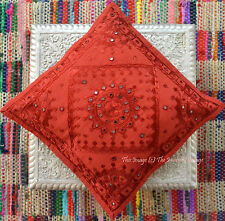"""Red Mirror Work Cotton Kantha Sofa Throw Bed Pillow CUSHION Type Cover 16"""""""