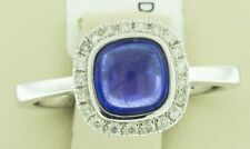 18K Handmade White Gold 1.41 CT Natural Cabochon Blue Tanzanite Diamond Ring 6.5