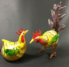 """Pair Of Art Glass Chicken Roosters Bright Colors 4 1/2"""" Lenox"""