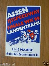 STICKER,DECAL ASSEN IJSSPEEDWAY 1989 FINALE WK LANDENTEAMS 89 ASSEN 11/12-3-1989