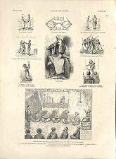 Satire Lunettes Rehlat Abou Naddara Zarla Vagabond Ismaïl Egypte GRAVURE 1882
