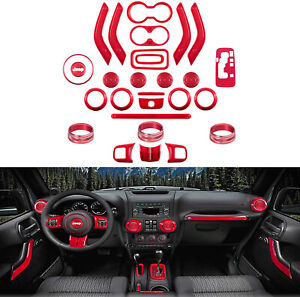 For Jeep Wrangler 28 PCS Interior Decoration Trim Kit Door Handle, AC Ring Cover