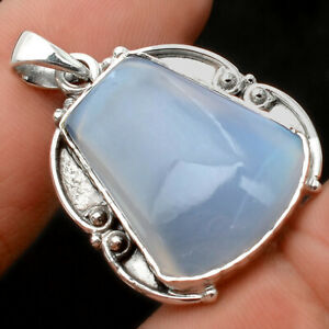 Natural Aqua Chalcedony 925 Sterling Silver Pendant Jewelry 2883