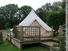 Used Beige 5m Canvas Bell Tent | ZIG Sheet & Fitted Flue Flashing for Woodburner