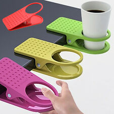Desk Table Clip Drink Cup Cans Coffee Mug Clip-On Holder Home Office