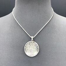 Silver Finish Shell Background Tree of Life Design Circle Shape Pendant Necklace