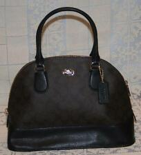 Coach Brown Black Signature Domed Satchel Purse Handbag NWT Crossbody Bag New