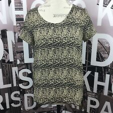 Soprano Black Tan High Low Short Sleeve Blouse Size XS