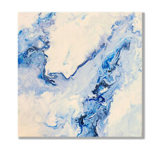 Abstract fluid art painting blue white modern on canvas original ready to hang