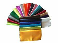 26Pcs Satin Handkerchief Pocket Square Hanky Formal Party Wedding Solid Hanky