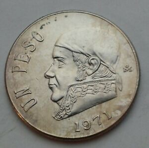 Mexico 1 Peso 1971 Mo. KM#460. One Dollar coin.