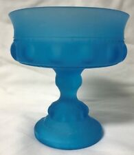 *Vintage Blue Frosted Glass Goblet Candy Dish