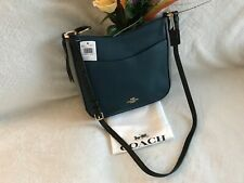 NWT. COACH Colorblock Chaise Pebbled Leather Crossbody Bag Peacock 38696