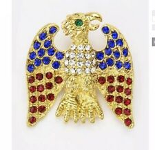 & Blue Rhinestone American Eagle Brooch Patriotic 4Th Of July Red, White