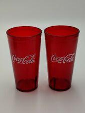 New (2) Coke Coca Cola Restaurant Ruby Red Plastic Tumblers Cups 20 oz