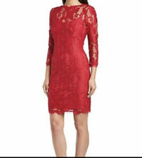 Adrianna Papell Illusion Lace Sheath Dress Petite Red 2P PXS