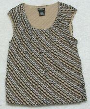 Tank Top Tee T-Shirt Sleeveless Crewneck George Woman's Large Beige Brown Gray