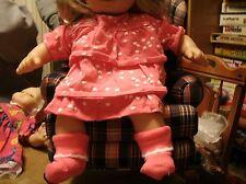 Handmade Bitty Baby Girl pink ruffled heart dress w hedgehog/sock A123
