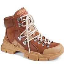 Gucci Journey Flashtrek Brown Beige Logo HighTop Hiker Boot Trainer Sneaker 39.5